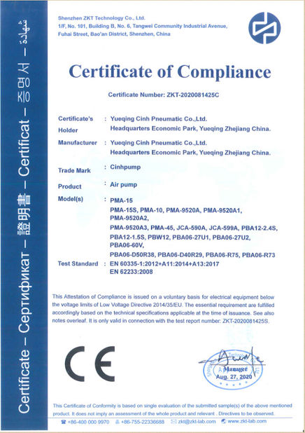 Chine Cinh group co.,limited Certifications